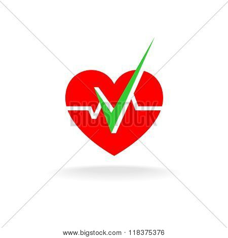Heart Is Ok Logo. Heart Silhouette With Graph Line And Green Check Mark.