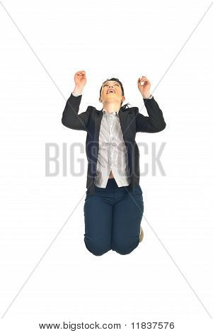 Business Woman Jumping And Looking Up