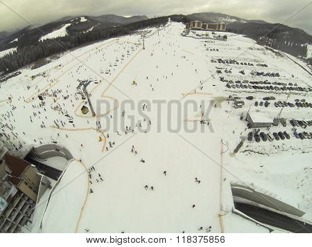 Aerial Photo Bottom Of The Lift On Bukovel, Kapratian Mountains