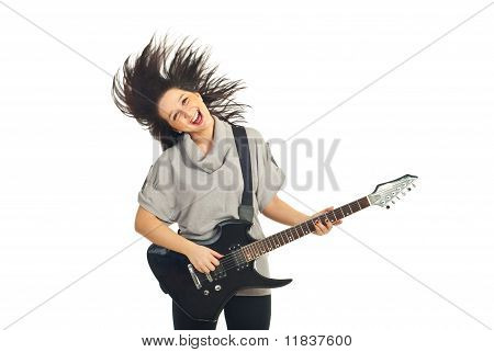 Guitarist Female In Motion
