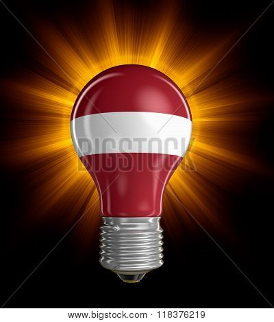Light bulb with Latvian flag.  Image with clipping path
