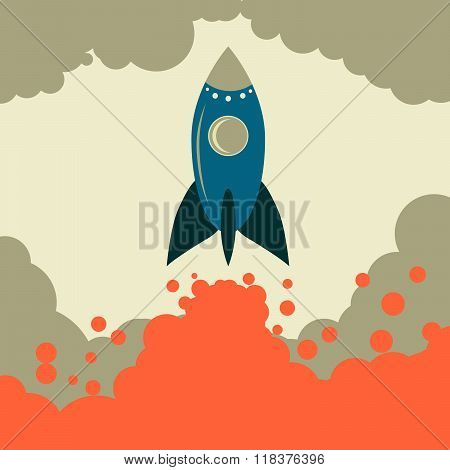 Retro rocket vector start up business