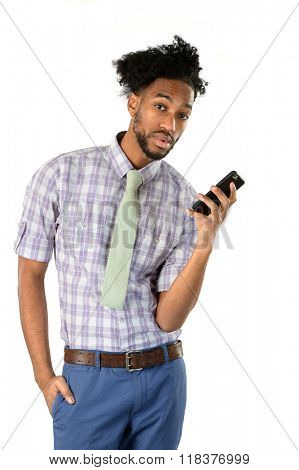 Portrait of African American businessman using cell phone isolated over white background
