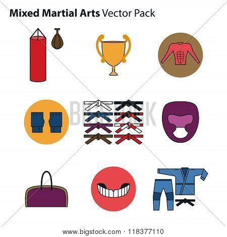 Mix Martial Arts Icons Set.