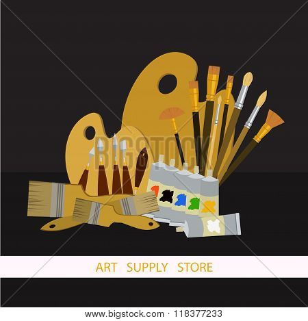 Art Supplies And Tools Vector Pack. Oil Painting Tools Set. Materials For Painting.
