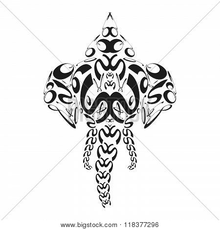 Vector Abstract Monochrome Elephant Ganesh Illustration.