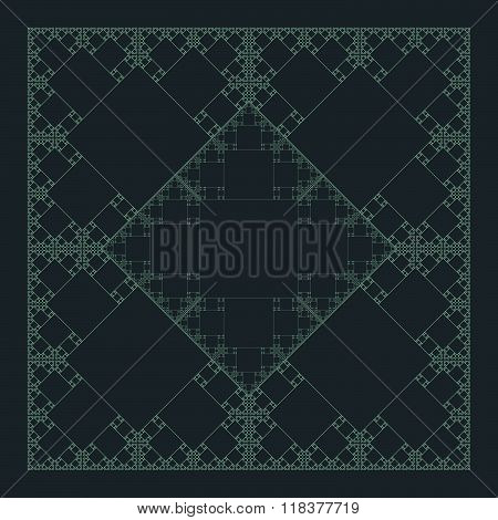 Square Sacral Geometry Fractal Structure Background.
