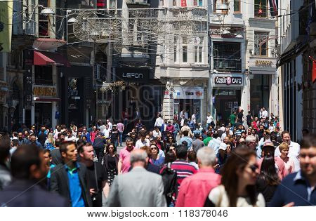 Lots Of People Walking On Istiklal Street.