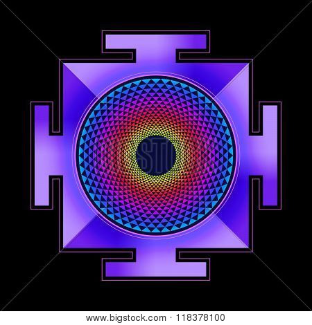 Colored Sahasrara Yantra Illustration.