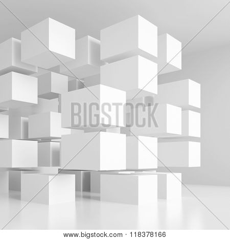 3d White Cubes Background. Abstract Futuristic Design