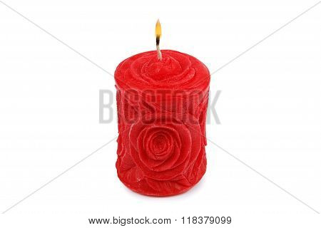 Carved Red Candle Isolated On White Background