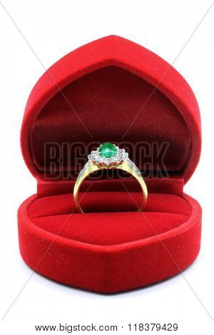 Luxury Diamond Jade Wedding Ring in Red Velvet Silk Box using for Engagement for Love in Valentine Holiday Concept