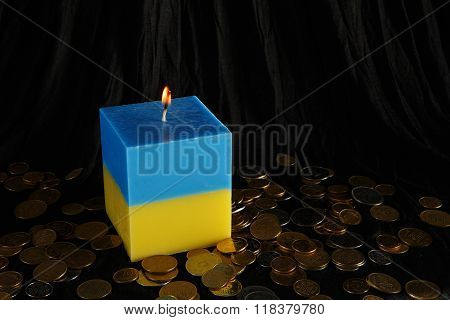 Candle Blue And Yellow As A Symbol Of Ukraine