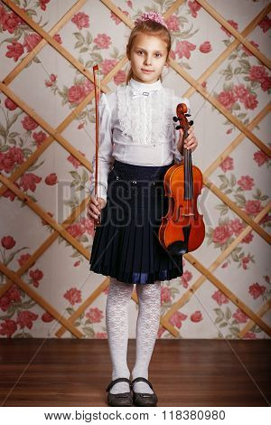 Full Length Portrait Of The Little Violinist