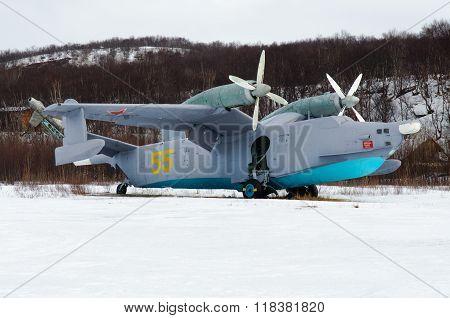 Safonovo, Russian federation - march 30 2012, Russian ASW amphibious aircraft Be-12, Safonovo
