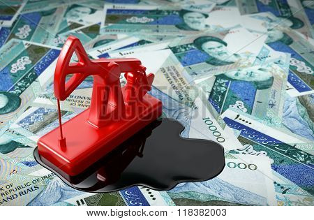 Pumpjack And Spilled Oil On Iranian Rials.