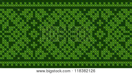 Green embroidered good like handmade cross-stitch ethnic Ukraine pattern. Spring color for St Patrick day. Traditional Ukrainian folk art pattern - vyshyvanka called