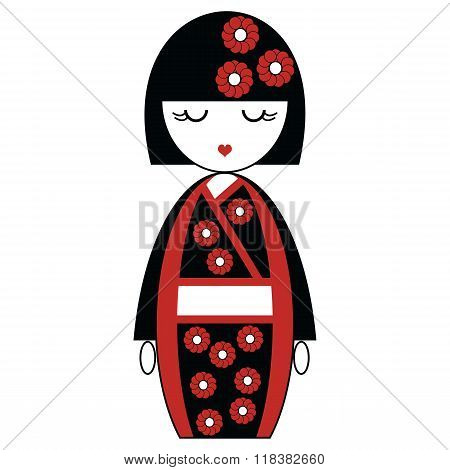 Japanese Geisha doll with black and red kimono with flowers