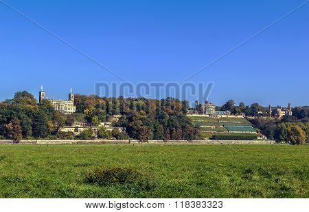 Castles Above The Elbe River Near Dresden, Germany