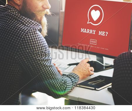Marry Me? Valentine Romance Heart Love Passion Concept
