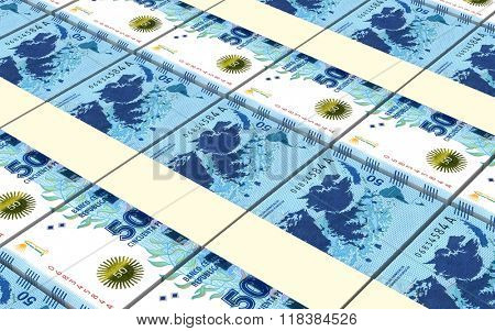 Argentina pesos bills stacks background. Computer generated 3D photo rendering.