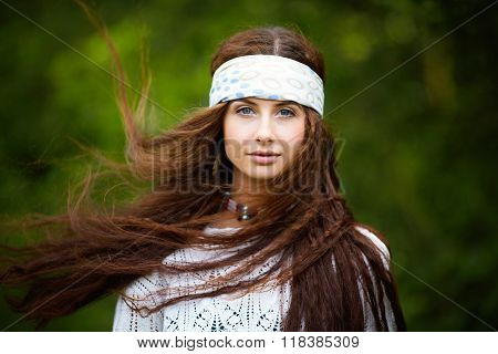 Boho fashion style portrait