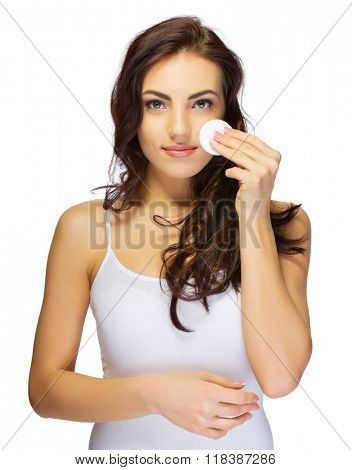 Healthy girl with wadded disk isolated