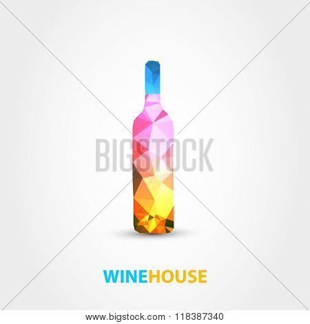 wine bottle polygon design on white background