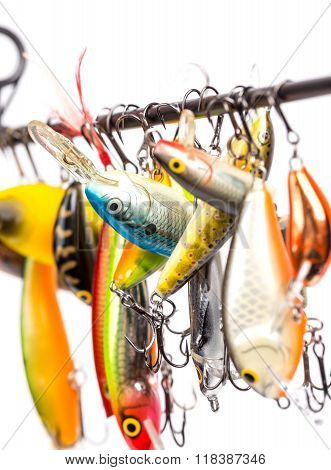 Colored Fishing Bait Wobblers Be Suspended On Rod`s Blank