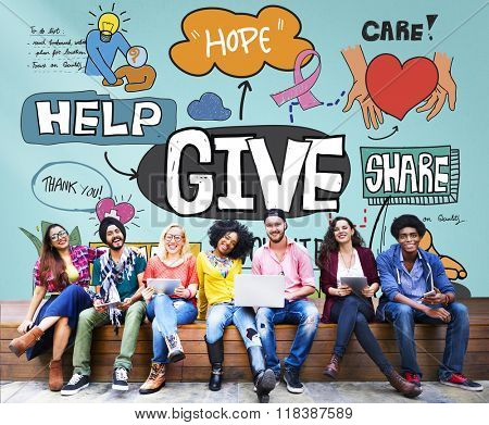 Give Help Donate Walfare Charity Donate Concept