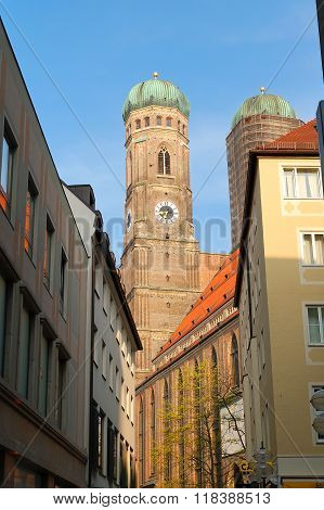 Historical Tower Of The Frauenkirche At Munich Bavaria