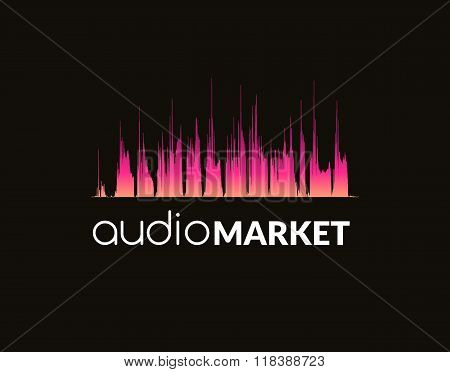 Logo template sound wave, studio, music, dj, audio system, store, market, party. Brand, branding, co