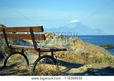 Wooden Bench With View At Athos Mountain
