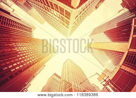 Fisheye Lens Stylized Skyscrapers In Manhattan, Busines Concept Background.