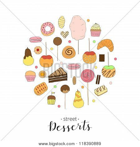Hand drawn desserts composed in circle shape.