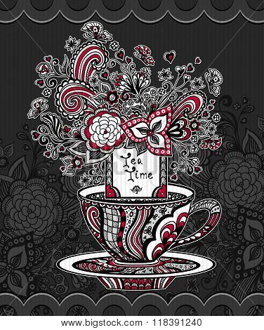 Zentangle Zen-doodle cup of tea with flowers  red white grey on black background