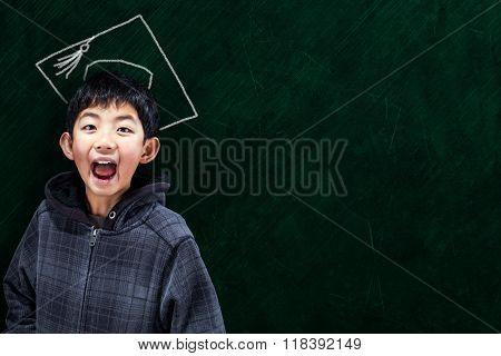 Smart Asian Boy At School Concept