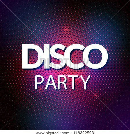 Disco lights mosaic round background. Vector colorful disco party lights
