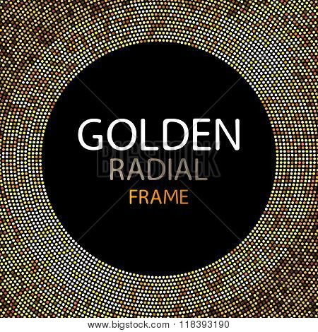 Vector gold disco lights frame or spangles round frame with empty center for text. Gold circle made