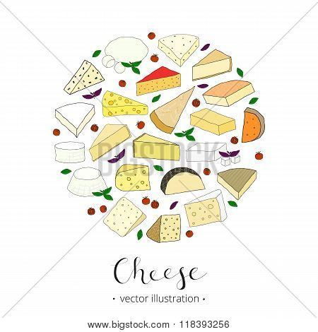 Hand drawn cheese composed in circle shape.