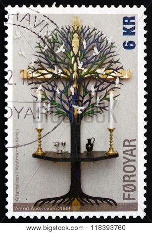 Postage Stamp Faroe Islands 2009 Altarpieces, Christianity
