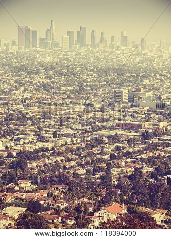 Retro Stylized Aerial View Of Los Angeles Seen Through Smog, Usa