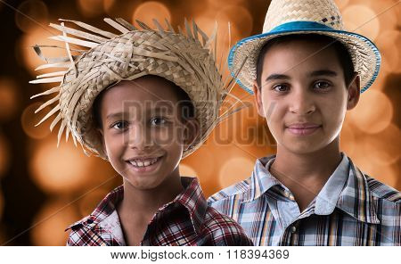 Brazilian boys wearing costume for Brazilian Junina Party