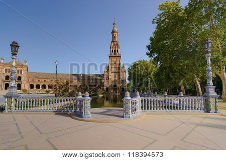 Spanish Square In Sevilla, The Plaza De España, Spain