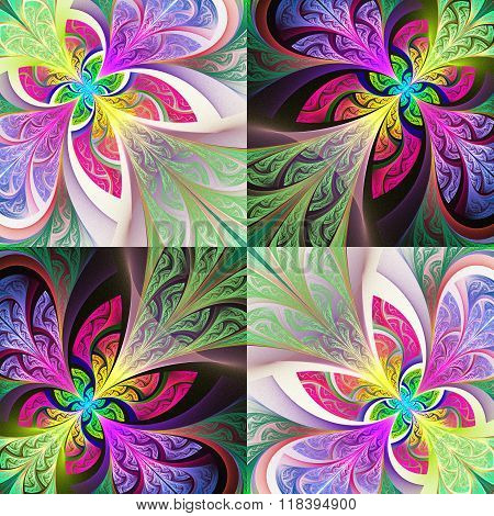 Two-tone Flower Pattern In Stained-glass Window Style. You Can Use It For Invitations, Notebook Cove