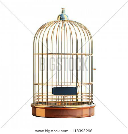 Empty bird golden cage isolated on white