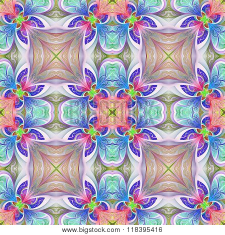 Multicolored Seamless Flower Pattern In Stained-glass Window Style. You Can Use It For Invitations,