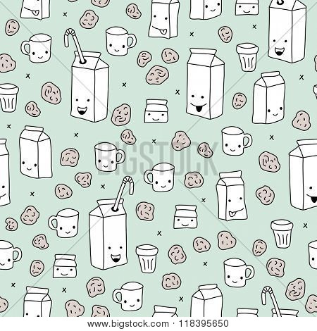 Seamless milk juice and chocolate chip cookies can carton and cup illustration background pattern in vector