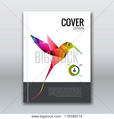 Business design background. Cover brochure book flyer Magazine template layout mockup with flying co