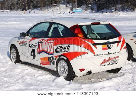 Tahko, Finland - February 23, 2010: Stylish Racing Car Ford On Studded Tires For Winter Rally